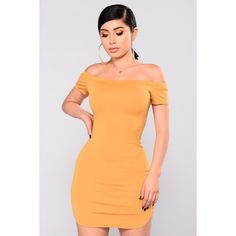 Need Time Off Shoulder Dress Mustard ($20) ❤ liked on Polyvore featuring dresses, rayon dress, off-the-shoulder dress, rounded hem dress, mustard yellow dresses and off-shoulder dresses