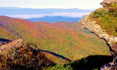 Fall view from the Blue Ridge Parkway at Craggy Gardens near Asheville NC.
