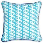 - turquoise aegean waves outdoor pillow