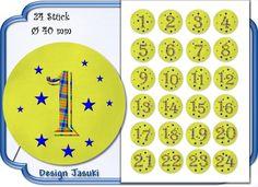 selbstklebende Zahlen Adventskalender grün kariert von Jasuki auf DaWanda.com