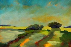 Abstract Landscape Painting: Across the Field by Nancy Merkle: Prints for Sale