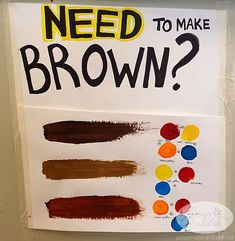 How to make brown paint. This is a life saver. Cute Canvas Paintings, Diy Canvas Art, Small Canvas Art, Color Mixing Chart, Mixing Colours, How To Make Brown, Poses References, Art Classroom, Classroom Posters