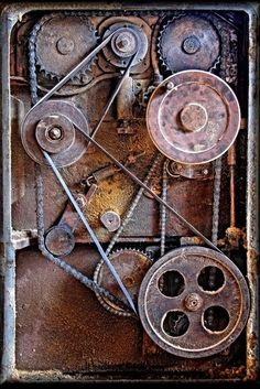 Rusty old cog gears, gear mechanism detail photo, steampunk inspiration design machine power Old world rustic cog wheels Industrial Stairs, Industrial Interiors, Industrial Furniture, Vintage Industrial, Industrial Office, Industrial Farmhouse, Industrial Machinery, Industrial Closet, Industrial Shop