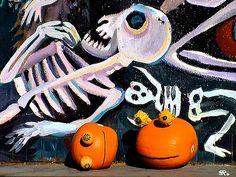 Rupert Pumpkin Halloween Skeleton Mural