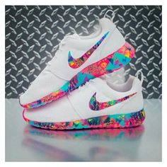 Shoes: rose roshe runs colorful multicolor white nike nike nike... ❤ liked on Polyvore featuring shoes, neon pink shoes, fluorescent shoes, nike, rose shoes and nike shoes