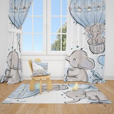 Excited to share this item from my #etsy shop: Cute Elephants Baby Boy Room Curtains Nursery Curtains Window Curtains