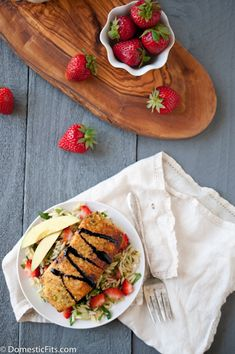 Pistachio Crusted Salmon with Strawberry Balsamic Glaze over Orzo Summer Salad. Healthy, dairy free and 30 minutes.