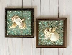 """SET OF TWO 8""""x 8"""" Beach Glass Wall and/or Window Art/Seashell Art/Resin Art/Unique Coastal Decor/Sun Catcher/Great Christmas Gift  Handmade in South Carolina with high quality materials (seashells, crushed glass, sand dollar, knobby starfish) and secured with care. The design is bonded (not glued) Nautical Wall Art, Coastal Wall Art, Coastal Decor, Handmade Christmas Gifts, Great Christmas Gifts, Great Gifts, Seashell Art, Starfish, Crushed Glass"""