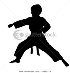 Vector Clip Art Picture of a Young Boy and Silhouette Practicing Karate in the Martial Arts