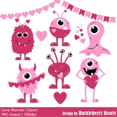 Valentine's Day Clipart, Valentine Clip Art, Monster Clipart, Love Monsters, Digital Monsters by HuckleberryHearts on Etsy https://www.etsy.com/listing/218801319/valentines-day-clipart-valentine-clip