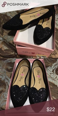 2230b1821e6 Black faux suede ballet flat with sequin heart