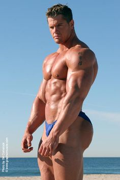 NPC Super Heavyweight Bodybuilder Matt Brown is hot.... check out this photoshoot of him on the beach.