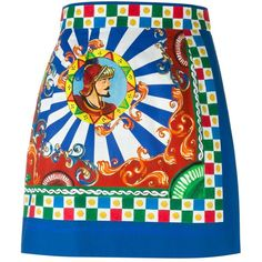 Dolce & Gabbana  Carretto Siciliano print skirt ($770) ❤ liked on Polyvore featuring skirts, dolce & gabbana, multicolour, high waisted a line skirt, cotton skirt, high-waisted skirts, short a line skirt and print skirt