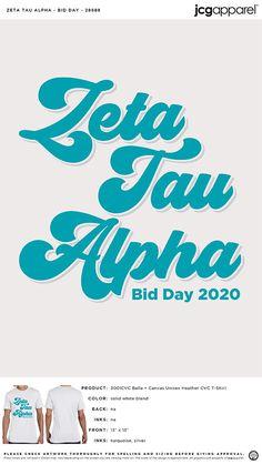 Zeta Tau Alpha Bid Day Shirt | Sorority Bid Day Shirt | Greek Bid Day Shirt #zetataualpha #zeta #zta #Bid #Day #Shirt #cursive #design Sorority Bid Day, Sorority And Fraternity, Bid Day Shirts, Bid Day Themes, Zeta Tau Alpha, Custom Design Shirts, Cursive, Screen Printing, Colorful Shirts