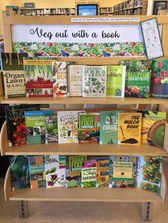 April display - Veg out with a book + gardening series