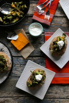 roasted broccoli and cheddar baked potatoes / joy the baker