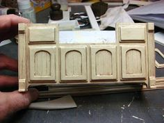 Dollhouse Miniature Furniture - Tutorials | 1 inch minis: KITCHEN CABINETS - How to make contemporary kitchen cabinets from mat board. FINISHING THE CABINETS.