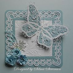 Lovely borders with large butterfly all in blue and white. Selma's Stamping Corner