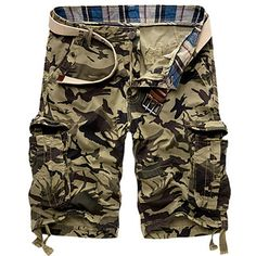 Hot Sale New Army Camouflage Shorts Men Cotton Loose Work Casual Short Pants No Belt