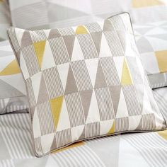 Yellow Skandi Geometric Collection Square Cushion | Dunelm
