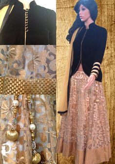 Designer lehenga in net fabric with zari work, white satin lining, jamawar border and heavy latkan. Black velvet collar jacket/top and net dupatta.