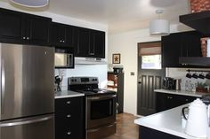 Kitchen reno-painted cupboards black-original oak. Kitchen Reno, Kitchen Cabinets, Painted Cupboards, The Originals, Black, Home Decor, Painted File Cabinets, Black People, Interior Design