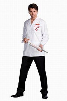 Wholesale Men's Role-playing Halloween Doctors Costumes Just Shirt One Color White  -$15.25