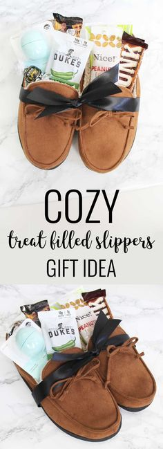 Okay I love this gift idea! Slippers make a great gift and they are even better when filled with little treats and gift cards! Perfect for Fathers Day or really any occasion.