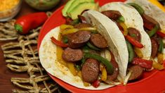 Did someone say Tex-Mex? Leave it to a true Texan to combine bold smoked sausage with a classic Tex-Mex favorite and create the best dern fajitas you've ever had! Summer Sausage Recipes, Smoked Sausage Recipes, Sausage Appetizers, Sausage Meals, Mexican Food Recipes, Dinner Recipes, Mexican Meals, Quick Meals, Healthy Meals