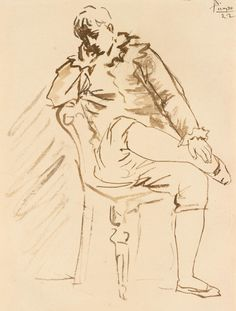 """poboh: """" Saltimbanque, 1922, Pablo Picasso. - Brush and Ink on Paper - """""""