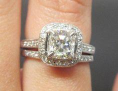 1.32ctw Cushion Cut Diamond Ring & Wedding Band Set by Appelblom