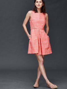 Inverted pleat fit & flare stripe dress | Gap