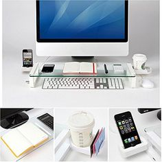 [Built-in 3 Port] Monitor Laptop Stand - Eutuxia® [Arctic White] Multi-funtion Universal Monitor Laptop Multimedia Stand with built-in 3 Port USB Home Office, Office Cube, Mini Office, Computer Shelf, Cup Phones, Monitor Stand, Thing 1, Laptop Stand, Office Makeover