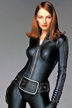 Black Leather Zipped Catsuit worn By Uma Thurman. Buy your Catsuit for dance from DCUK Dance Clothes.  Never know when your gonna need a catsuit;)