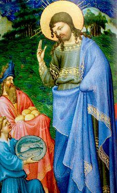 Les Très riches heures Berry La multiplication des pains C'est l'une des miniatures les plus achevées de ce livre d'heures. La scène prépare la multiplication, accentue la bénédiction du pain 168v