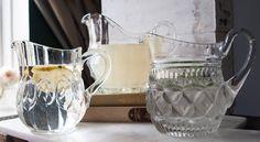 Vintage Glass Jugs Set of 3 | Water Jugs | Cut Glass Pitcher | Vintage Glass | wedding table centerpieces