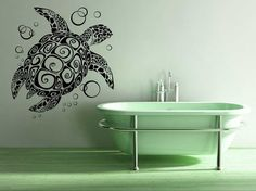 Turtle, Tortoise, Bubbles - Decal, Sticker, Vinyl, Wall, Home, Bathroom, Aquarium Decor via Etsy