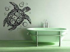 Turtle, Tortoise, Bubbles - Decal, Sticker, Vinyl, Wall, Home, Bathroom, Aquarium Decor via Etsy