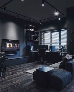 All black living room design. Home Room Design, Home Office Design, Living Room Designs, House Design, Bedroom Setup, Black Interior Design, Home Office Setup, Black Rooms, Dark Interiors