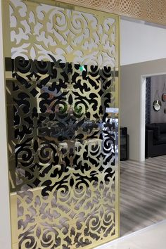 Baroque wall room divider laser cut screen made in Australia by decorative screen wholesaler QAQ, Melbourne. This is our 'Morocco' design in gold mirrored ACM. Portable Room Dividers, Sliding Room Dividers, Jalli Design, Room Deviders, Small Room Divider, Laser Cut Screens, Partition Design, Decorative Screens, Ceiling Design