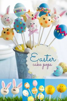 Kid's Party Food Ideas Easter Cake Pops www.spaceshipsandlaserbeams.com - click on the picture, then do a search for Easter Cake Pops. The link with directions will come up.