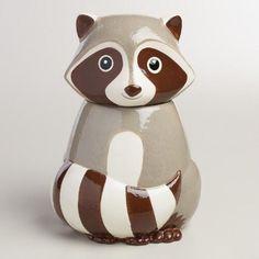 Ceramic Raccoon Cookie Jar