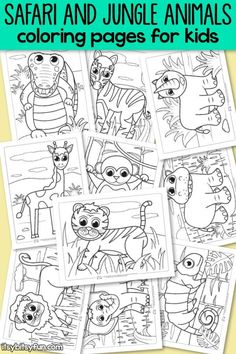 Safari and jungle animals coloring pages for kids. 10 super cute designs.