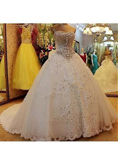 0e4c293183ba  298.79  Junoesque Tulle Sweetehart Neckline Ball Gown Wedding Dresses With  Lace Appliques   Beadings   Bowknot - ailsabridal.com