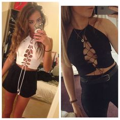 FRESHERS OFFER 2 lace up halters night out by UnexampledApparel
