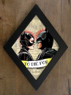 Catwoman and Batman kiss Michelle Pfeiffer and by bwanadevilart Catwoman Cosplay, Batman And Catwoman, Batgirl, Tim Burton Batman, Goth Home, Horror Art, Horror Drawing, Painting Frames, Psychobilly