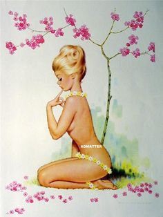 VINTAGE PIN-UP POSTER TOPLESS NUDE DAISY FLOWER GIRL PHOTO SEXY 2-SIDED PRINT!