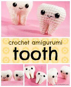 Tooth - Free Amigurumi Crochet Pattern here: http://blog.craftyalien.com/patterns/free/crochet-amigurumi-tooth-pattern/