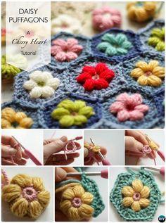#Crochet Puffagon Daisy Flower Blanket Free Pattern