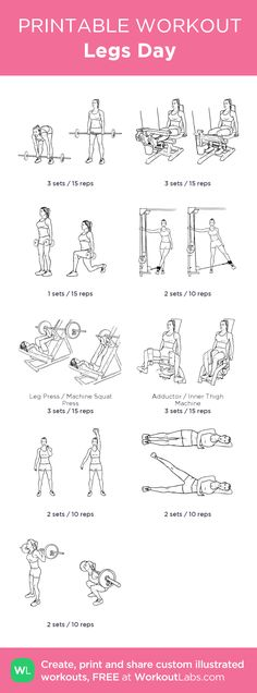 Legs Day: my visual workout created at WorkoutLabs.com • Click through to customize and download as a FREE PDF! #customworkout